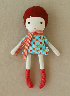 Fabric Doll Rag Doll in Orange Checked Scarf. $33.00, via Etsy.