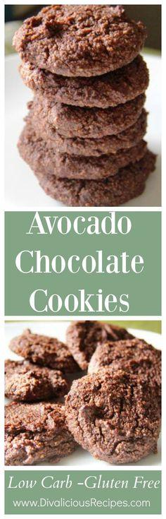 avocado chocolate cookies  Low carb & gluten free cookies  Recipes - http://divaliciousrecipes.com/2014/04/02/avocado-chocolate-cookies-almond-flour/