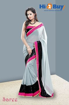 Grey Solid Georgette Saree With Blouse Piece on Hi2buy.com #Hi2buy #OnlineShoppingDestination #Sarees #Shopping