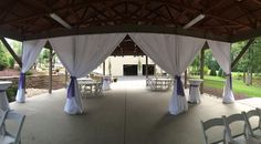 The Gardens at Sand Springs decorated for Shannon and Dean's wedding ceremony