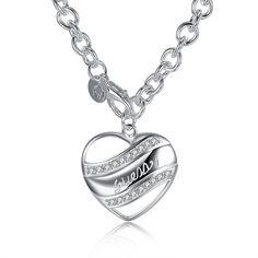 YUEYIN Sweet Heart Necklace Hollow Rhinestone Heart Silver Plated Neckalce