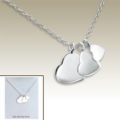 Silver necklace with heart pendants incl. display card - 17049