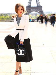 Yana F.-Chanel Bag, Zara Shoes, Asos Sunglasees, H&M Skirt, Tom Ford Blazer, Louis Vuitton Top