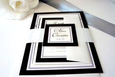 Black Wedding Invitation, Black and White Wedding Invitation, Classy, Wedding Invites, Belly Band, Elegant Wedding Invitation - DEPOSIT