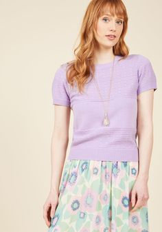 <p>With this short-sleeved sweater on your frame, you can consider your smile here to stay! With a lovely lavender hue atop its lightweight, pointelle-dotted knit, this ModCloth namesake label top takes the average afternoon and makes it exceptional.</p>