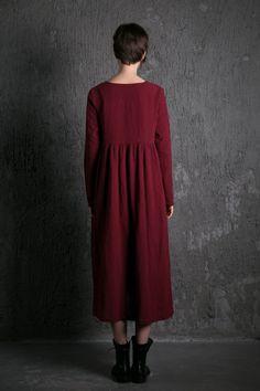 Red Linen Dress Long Burgundy Loose-Fitting par YL1dress sur Etsy
