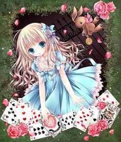 ✮ ANIME ART ✮ Alice in Wonderland. . .Alice. . .dress. . .hair ribbons. . .playing cards. . .stuffed rabbit. . .roses. . .flower petals. . .cute. . .moe. . .kawaii