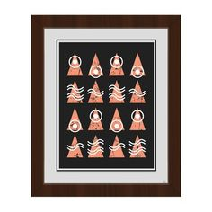 Click Wall Art Triangle Codex Black/Coral Framed Graphic Art on Canvas