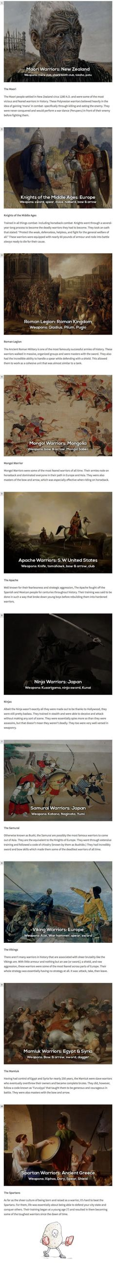 Deadly ancient warriors from around the world