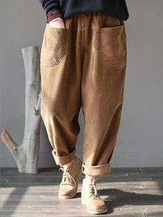 bf3d9b7d0e32 M-5XL Femmes Casual Pure Color Pantalon en velours côtelé à taille élastique  Pantalons En