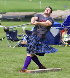 John Pilling of Saginaw, Michigan, throws the 22-pound heavy hammer Saturday during the 29th annual Scottish Festival and Highland Games in Itasca.