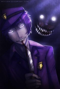 anime screenshot- Purple Guy by CandyPout on DeviantArt Freddy S, Fnaf X Reader, Vincent Fnaf, Creepy Games, Fnaf Night Guards, Fnaf Wallpapers, William Afton, Fnaf Characters, Fnaf Sister Location