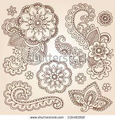 stock vector : Henna Paisley Flowers Mehndi Tattoo Doodles Set- Abstract Floral Vector Illustration Design Elements