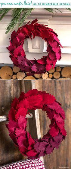 Ombré Felt Wreath - Lia Griffith - www.liagriffith.com #diywreath #diywreaths #diyholiday #homefortheholidays #felt #feltcraft #feltcrafts #feltcrafting #madewithlia
