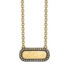Vintage inspired yellow gold bar necklace with diamond frame. Make it personal! Necklace includes engraving of up to three letter, please call to specify.
