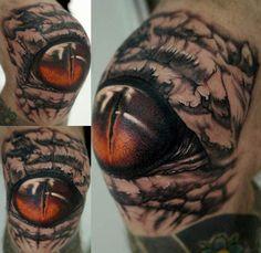 Knee Tattoo from Stefano Alcantara. #inked #Inkedmag #tattoo #Kneecap #eye…