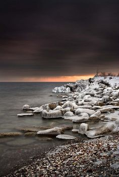 ice on rocks