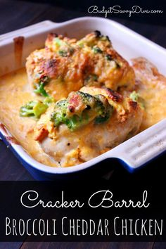 Copy Cat Recipe - Cracker Barrel Broccoli Cheddar Chicken Recipe. My family loved it!