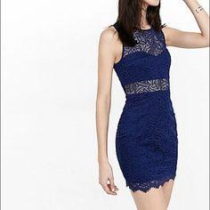 4976a089ce Express Blue Lace Sheath Dress Dinner Outfits