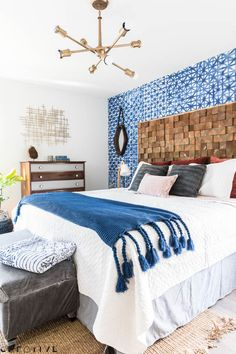 Check out this Shibori-inspired master bedroom makeover! There's plenty of DIY projects for your own home packed into Episode 1, Season 2 of The Weekender.