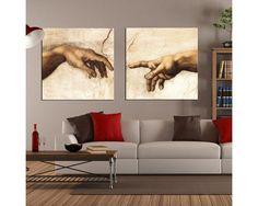 The creation of Adam,πολύπτυχος πίνακας σε καμβά , τετράγωνα panel (multipanel) The Creation Of Adam, Michelangelo, Throw Pillows, Decor, Art, Art Background, Toss Pillows, Decoration, Kunst