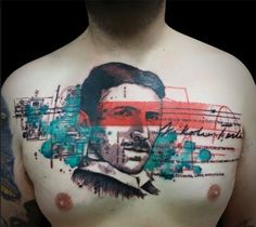 Nikola Tesla chest tattoo with Trash Polka-esque highligts - Tattoo MAG Nikola Tesla, Time Tattoos, Back Tattoos, Cool Tattoos, Amazing Tattoos, Tattoo Trash, Trash Polka Tattoo, Historical Tattoos, Watercolour Tattoos