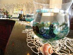 Bar Mitzvah Bat Mitzvah Beach Theme vases Table Decor Centerpieces
