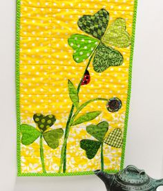 """Table runner for St. Patrick's Day and Spring- """"In the Garden of Lucky"""". 68.00, via Etsy."""