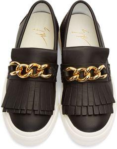 Giuseppe Zanotti Black Leather Gold Chain Trim Fringe Sneakers
