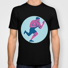 Rugby Player Fend Off Circle Retro T-shirt