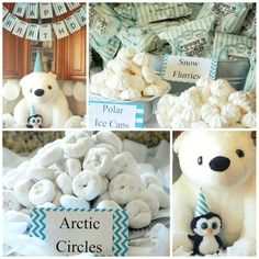 Polar Bear and Penguin Birthday Party  Powdered donuts = Arctic Circles   White chocolate kisses = Polar Ice Caps @ http://lightingworldbay.com for more information