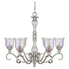 ALSTON 6-LIGHT CRYSTAL CHANDELIER IN PEWTER.  Scrolling 6-light crystal glass chandelier with a turned iridescent center column and hand-cut shades.