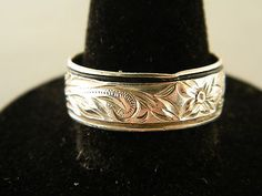Sterling Silver 925 Flower Band Ring By K Size 9 A215