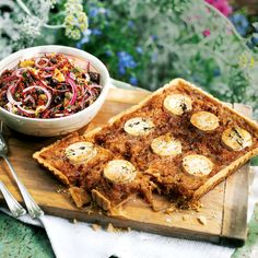 Vegetarian recipes to inspire a delicious vegetarian Christmas dinner including Jerusalem artichoke and sweet potato tarts, cheesy vegetable pie and our best ever nut roast Thyme Recipes, Tart Recipes, Lunch Recipes, New Recipes, Onion Recipes, Caramelised Onion Tart, Caramelized Onions, Vegetarian Christmas Recipes, Vegetarian Recipes