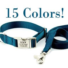 Personalized Dog Collar and Leash Set Custom by PupPanache