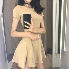 Basic cotton short summer slim sewed dress. itGirl Shop 129dec08b