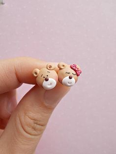 Bear earrings created from polymer clay without molds or forms. The lenght of each earring is 1 cm. ❀ Because i make everything by hand, the item you receive may differ slightly than shown on the pictures. ❀ Price is for one pair of earrings. ❀ I ship the orders in cute handmade boxes made
