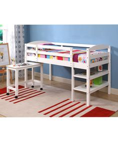 White Twin Loft Bed Frame & Desk