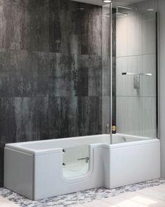 Luxury P shape walk-in shower bath with a curved glass shower screen. Walk In Shower Bath, Bathtub Shower Combo, Glass Shower, Bathtub Remodel, Shower Remodel, Walk In Shower Designs, Bathroom Designs, Bathroom Ideas, Walk In Tubs