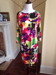 LONDON TIMES Black Red Pink WOMENS DRESS Sz 8 Polyester/Spandex Sunflowers #LondonTimes #Sheath #Casual #sunflowers