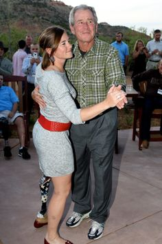 So sweet: President Bush dancing with the first female soldier to lose a limb in combat. Heroism. Thank you for your service.
