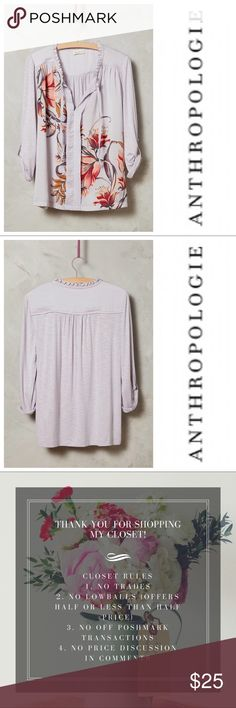 "Anthropologie Meadow Rue Evella Blouse EUC.  Style No. 4112336415080  Cotton, spandex, polyester Pleat detail Pullover styling Machine wash Imported Dimensions  25.5""L Anthropologie Tops Blouses"