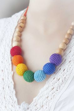 Rainbow Nursing necklace  teething necklace   colorful  by Almami on Etsy