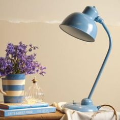 This fresh blue Newark #Desk #Lamp in Blue made by Jim Lawrence features #vintage look cable and  a great period style dolly switch. Its ideal for creating a modern #country style.