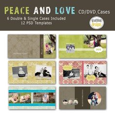Gradybug Designs - Peace and Love CD/DVD Cases - Templates for Photographers