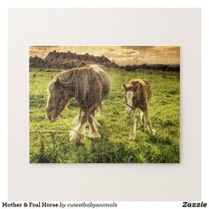 Mother & Foal Horse Jigsaw Puzzle Young Animal, Nature Plants, Make Your Own Puzzle, Custom Gift Boxes, Sticker Shop, High Quality Images, Baby Animals, Shelter, Cute Babies
