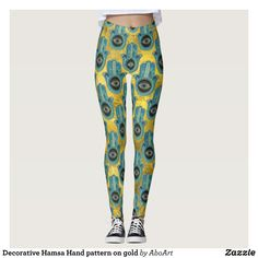 Decorative Hamsa Hand pattern on gold Leggings : Beautiful #Yoga Pants - #Exercise Leggings and #Running Tights - Health and Training Inspiration - Clothing for #Fitspiration and #Fitspo - #Fitness and #Gym #Inspo - #Motivational #Workout Clothes - Style AND comfort can both be achieved in one perfect pair of unique and creative yoga leggings - workout and exercise pants - and running tights - Each pair of leggings is printed before being sewn allowing for fun designs on every square inch…