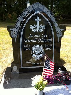 Custom Police Grave Marker Grave Memorials, Pet Memorials, Headstone Ideas, Head Stone, Monument Signs, Travelers Rest, Cemetery Headstones, Wedding Stage Decorations, Carving Designs