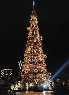 The giant Christmas tree on the bank of the Rodrigo de Freitas Lake is illuminated in Rio de Janeiro, Brazil.
