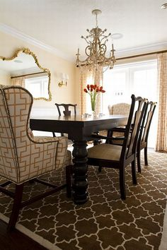 Luxuroius Dining Room Interior Ideas For Your Home With Long Curtain Glass Window Wooden Table Red Flower Cream Wall Wooden Chairs